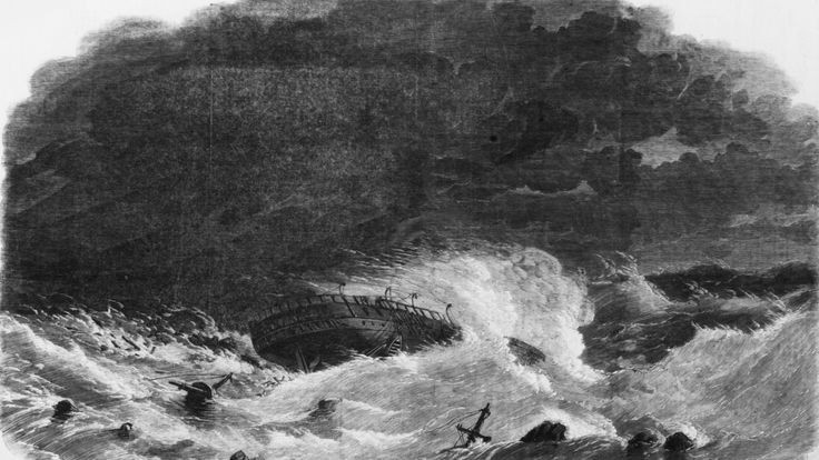 An artist's impression of the wreck of the Royal Charter in 1859
