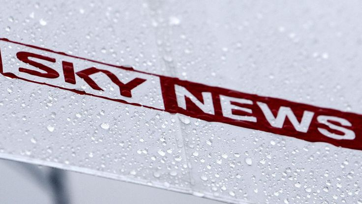 A Sky News umbrella