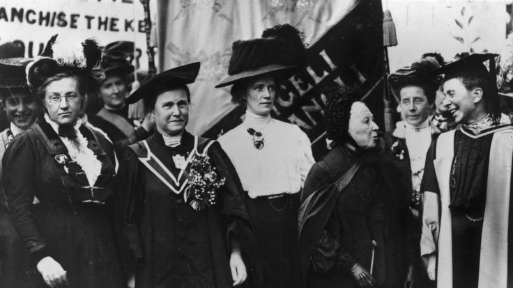 Millicent Fawcett (second l) was not keen on the violence of the Suffragettes