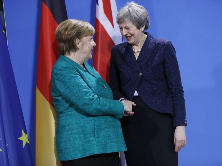 Mrs May with Angela Merkel in Berlin on Friday