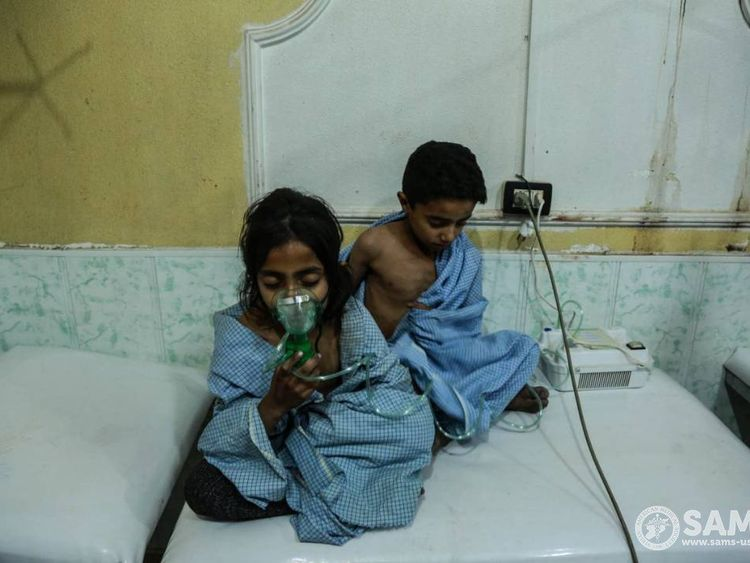 Children in hospital after a chlorine attack on eastern Ghouta