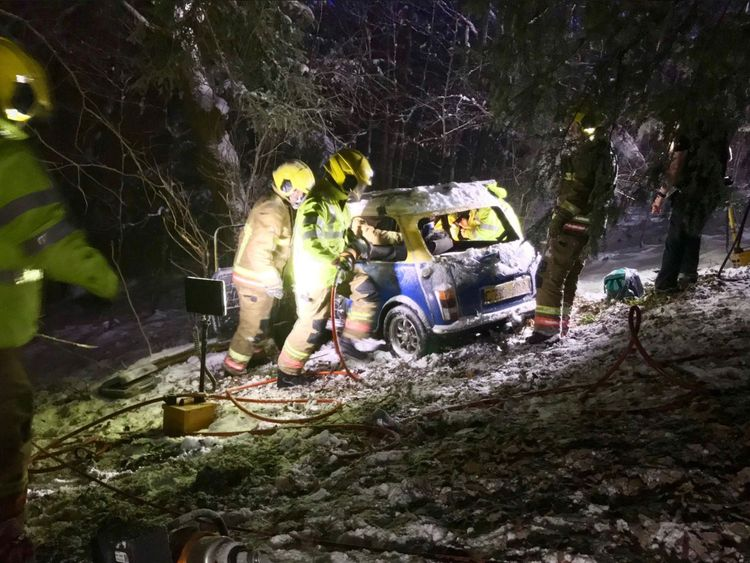 Firefighters cut a woman free from a car in County Durham
