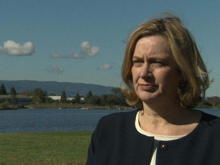 Amber Rudd talks to Sky News in San Francisco