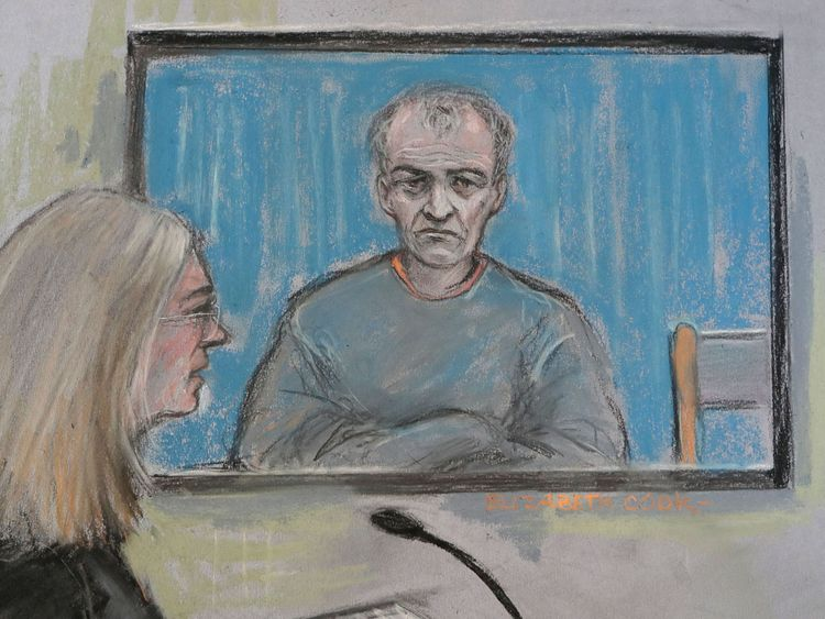 A court sketch of former football coach Barry Bennell during his trial