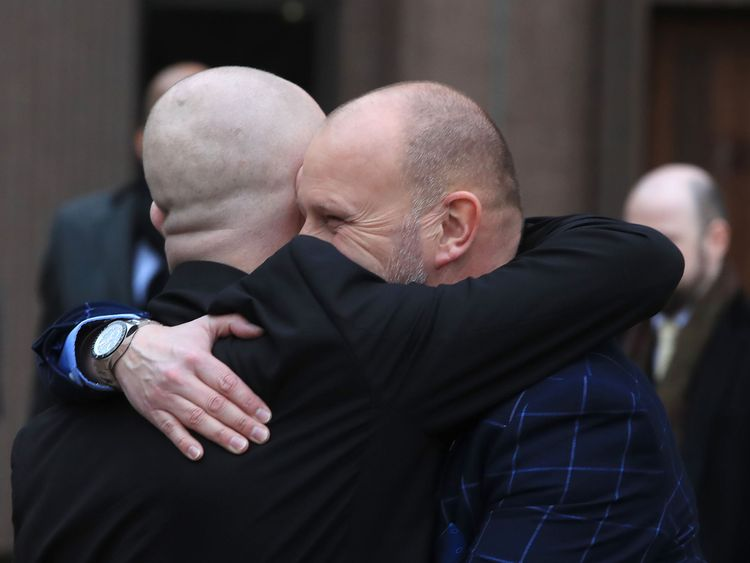 Bennell's abuse survivors Jason Dunford and Chris Unsworth outside Liverpool Crown Court