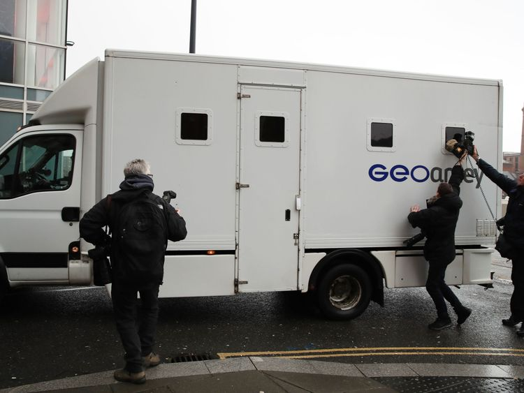 A GEOAmey van arriving at Liverpool Crown Court ahead of the appearance of serial paedophile football coach Barry Bennell