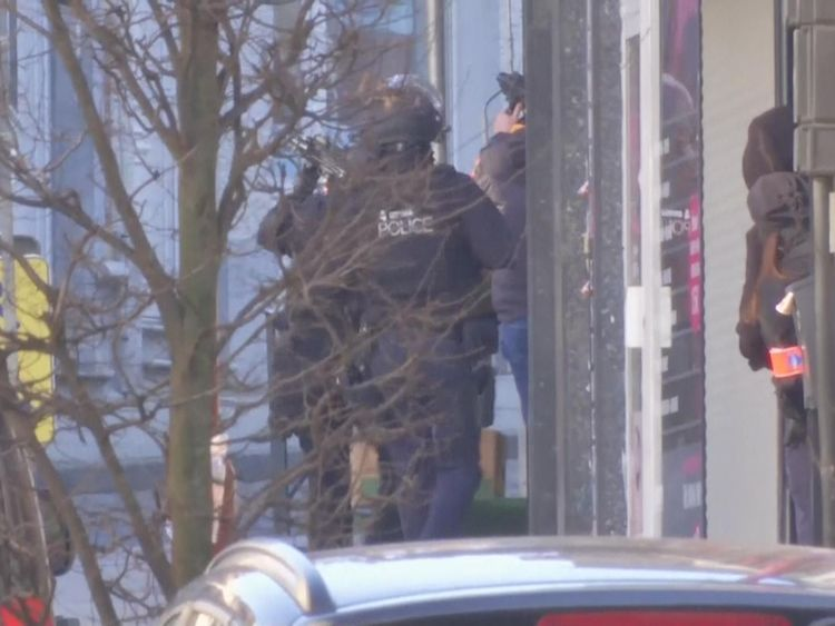 A number of armed officers were seen responding to the incident