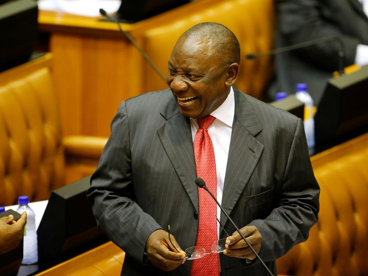 Cyril Ramaphosa, the acting President of South Africa, arrives at the parliament in Cape Town to be sworn in