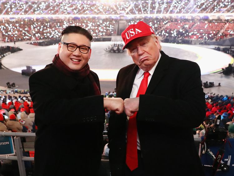 Impersonators of Donald Trump and Kim Jong Un pose during the Opening Ceremony of the PyeongChang 2018 Winter Olympic Games at PyeongChang Olympic Stadium on February 9, 2018 in Pyeongchang-gun, South Korea.