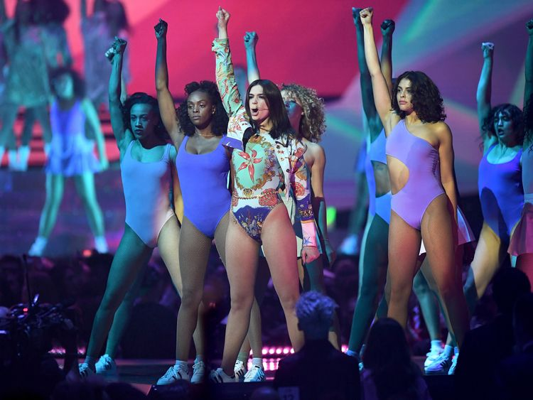 Dua Lipa performing at the Brits