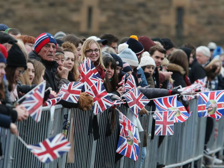 Crowds gather ahead of a visit by Prince Harry and Meghan Markle to Edinburgh Castle. PRESS ASSOCIATION Photo. Picture date: Tuesday February 13, 2018. See PA story ROYAL Harry. Photo credit should read: Andrew Milligan/PA Wire