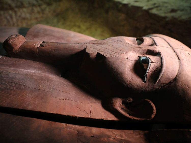 A wooden coffin found by archaeologists