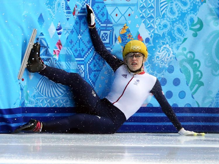 Elise Christie falls during the short track women's 1000m semifinals at Sochi in 2014