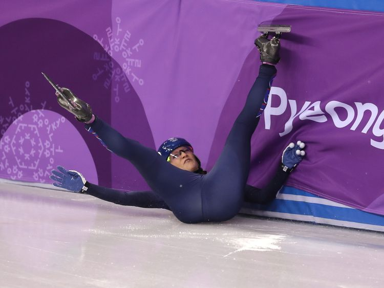 Elise Christie's bid for gold in the 500m Short Track Speed Skating came to an ungainly end