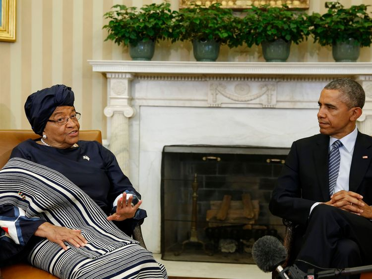 Ms Sirleaf meets then US President Barack Obama at the White House in 2015