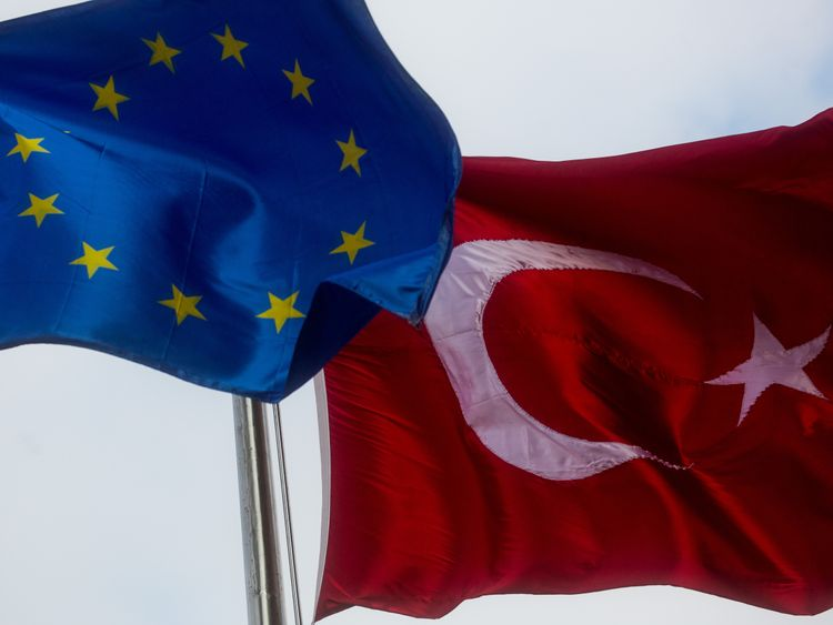EU flag and Turkey flag