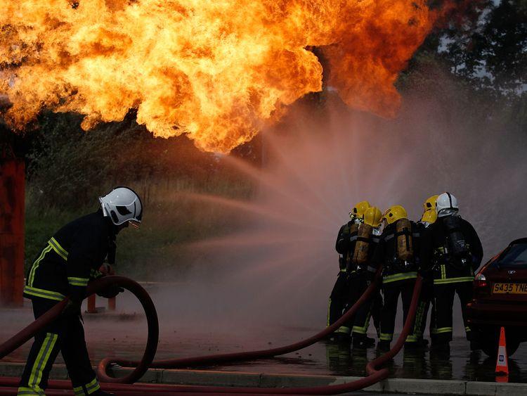 Firefighters in a drill in Merseyside