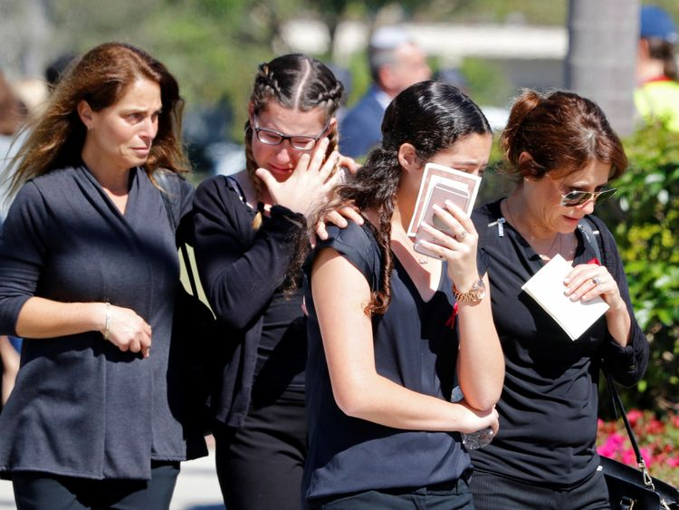 Mourners break down in tears at the funeral of 14-year-old Alyssa Alhadeff