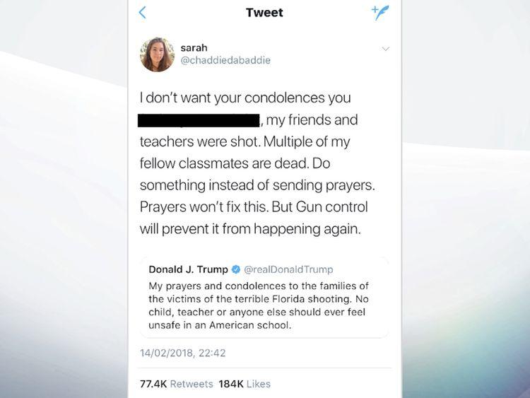 The tweet 'Sarah' sent in response to Donald Trump's message