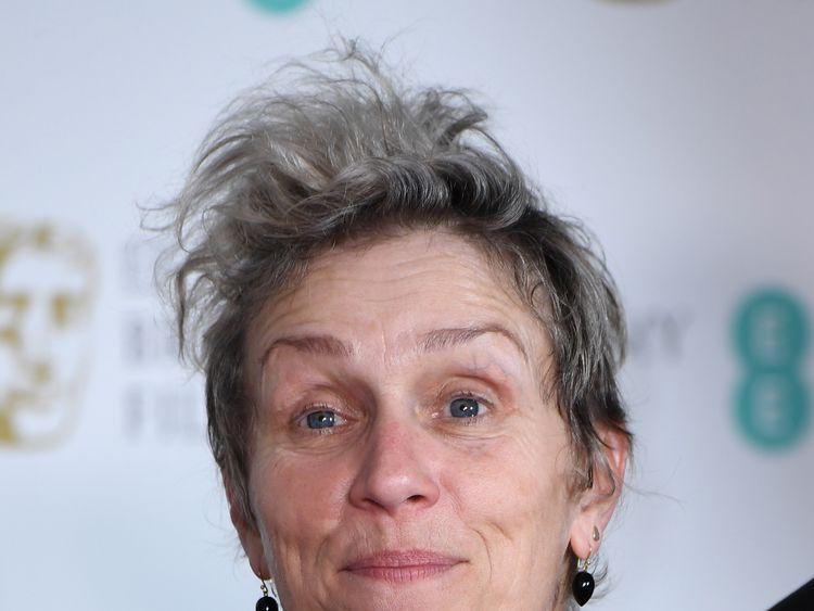 Best Actress winner Frances McDormand opted for a splash of colour on her dress