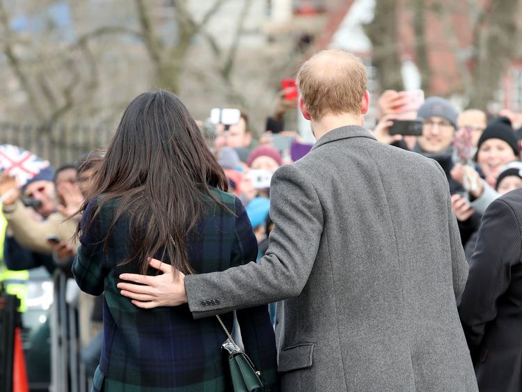 Prince Harry and Meghan Markle arrive to Edinburgh Castle on February 13, 2018 in Edinburgh, Scotland.