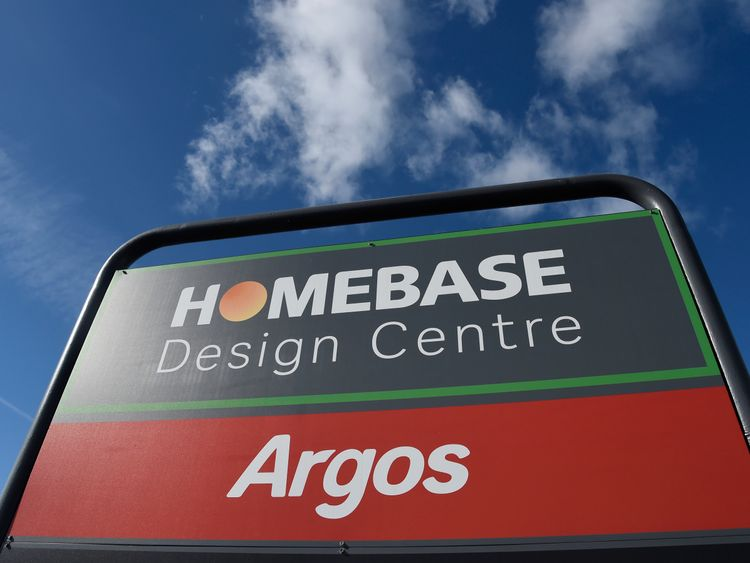 Signage for Sainsburys Homebase and Argos is seen outside of one of their branches in London, Britain, March 30, 2016.