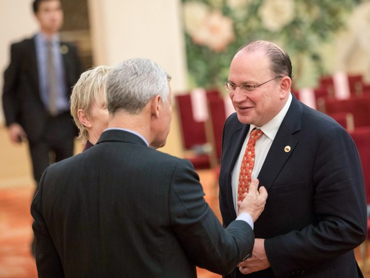 Mark Edward Tucker, chairman of HSBC Holdings Plc (right) attends the CEO council at the Great Hall of the People in Beijing, China.