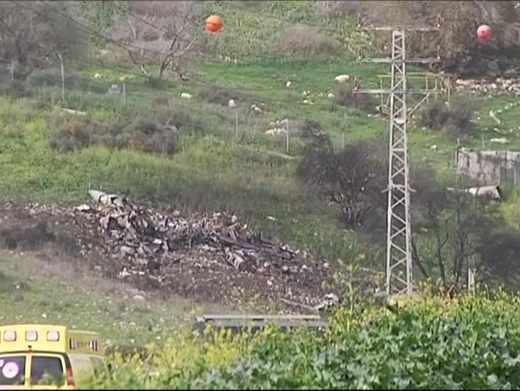 An Israel jet is shot down after coming under fire from Syria