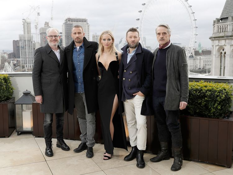 XXX dueing the 'Red Sparrow' photocall at The Corinthia Hotel on February 20, 2018 in London, England.