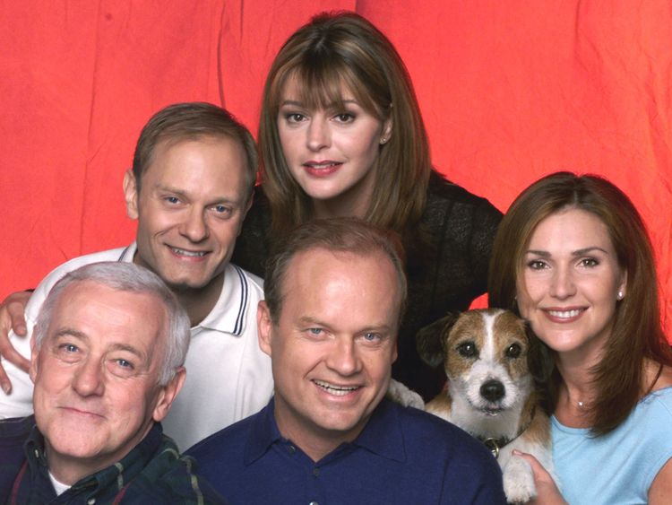 John Mahoney (bottom l) with his co-stars, David Hyde Pierce, Jane Leeves, Kelsey Grammar, Eddie the dog and Peri Gilpin