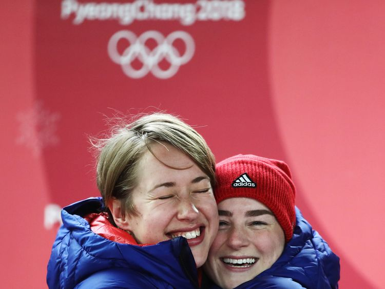 Gold medal winner Lizzy Yarnold of Great Britain and bronze medalist Laura Deas of Great Britain celebrate following the Women's Skeleton on day eight of the PyeongChang 2018 Winter Olympic Games at Olympic Sliding Centre on February 17, 2018 in Pyeongchang-gun, South Korea. (Photo by Clive Mason/Getty Images)