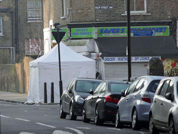 A police forensics tent remained at the scene in Bartholomew Road on Wednesday morning