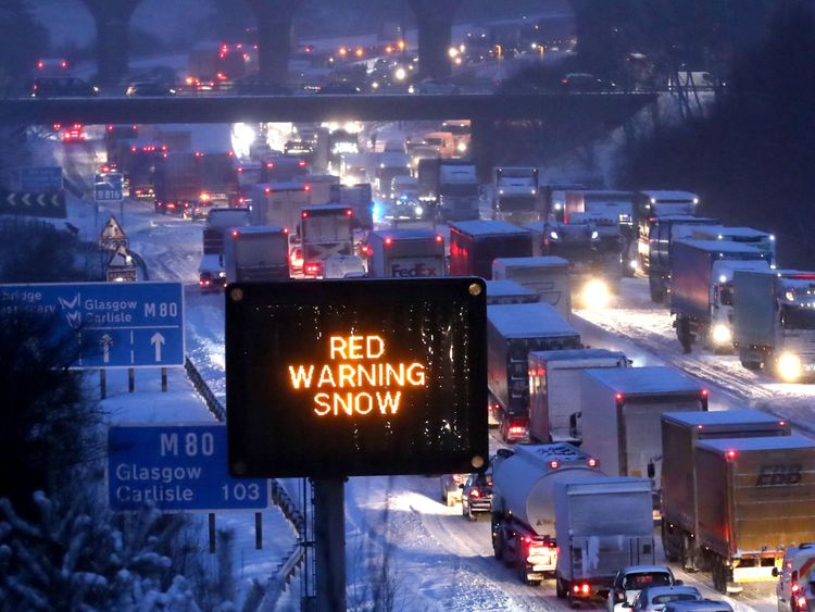 The scene on the M80 Haggs in Glasgow