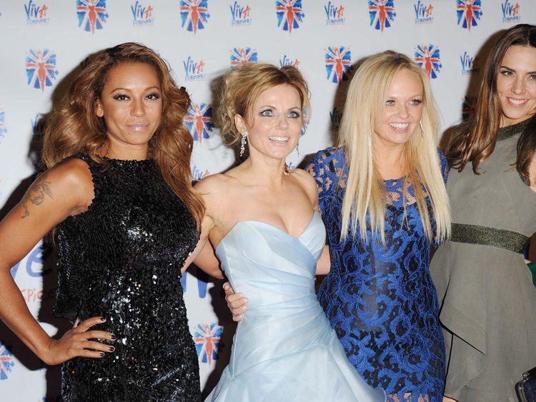 (L-R) Melanie Brown, Geri Horner, Emma Bunton and Melanie Chisholm in 2012