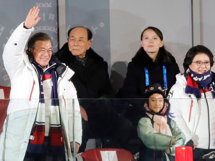 President of South Korea Moon Jae-in, his wife Kim Jung-Sook, resident of the Presidium of the Supreme People's Assembly of North Korea Kim Young Nam and Kim Yo-Jong, the sister of North Koreas leader Kim Jong-un