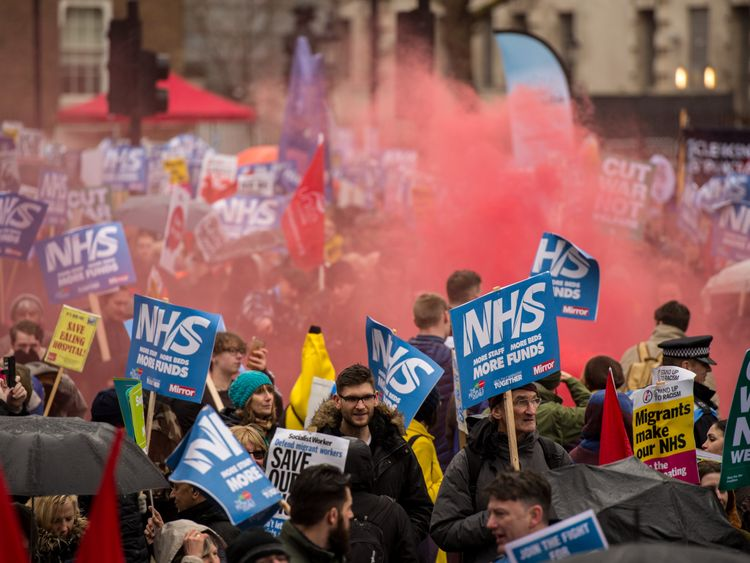 The People's Assembly demonstration called for increased NHS funding