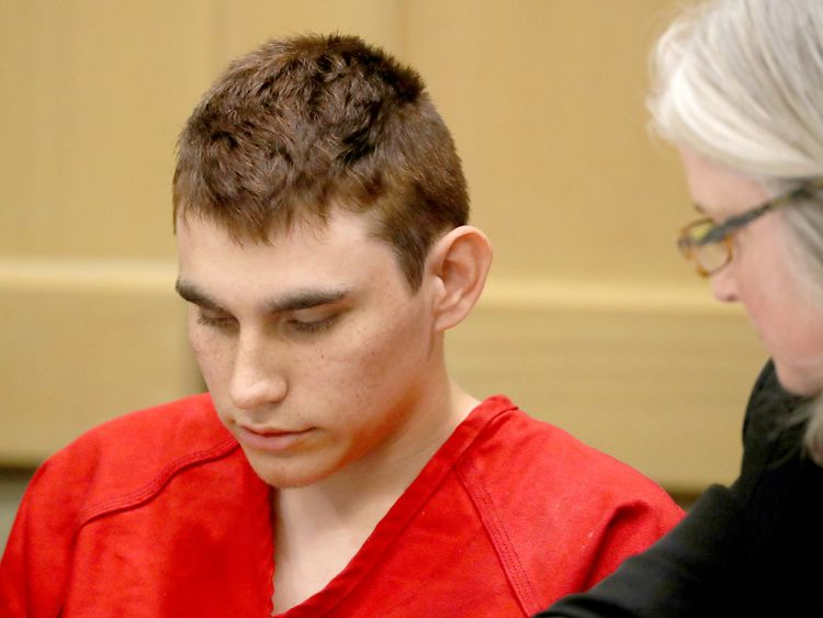 Nikolas Cruz kept his head down during the hearing at a court in Fort Lauderdale