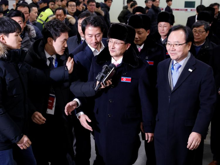 A North Korean delegation of 32 people, including 10 athletes of North Korean Olympic team, arrives at Yangyang international airport in South Korea