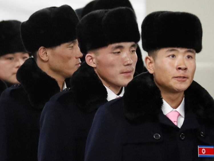 North Korean athletes arrive at the the Olympic Village in Gangneung, South Korea