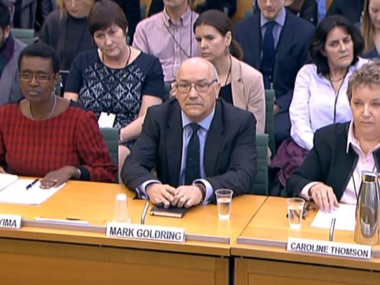 Winnie Byanyima, executive director of Oxfam International, Mark Goldring, CEO of Oxfam GB, and Caroline Thomson, chair of trustees for Oxfam GB give evidence