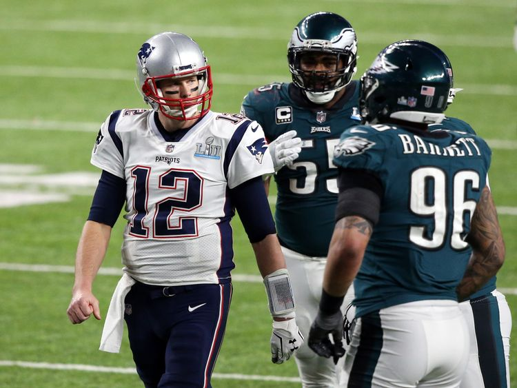 Patriots quarterback Tom Brady did not look happy in the Super Bowl fourth quarter