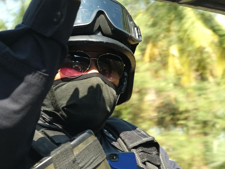 Heavily armed police on patrol in Acapulco