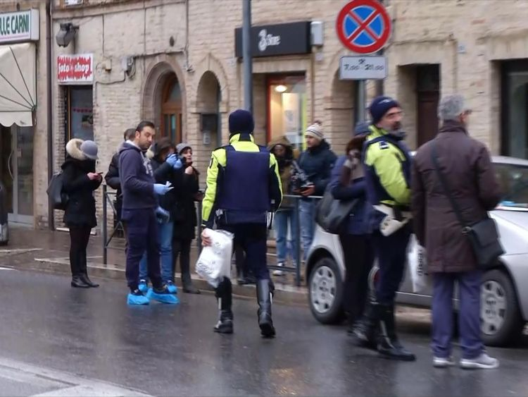 Police investigate drive-by shootings in the Italian city of Macerata.