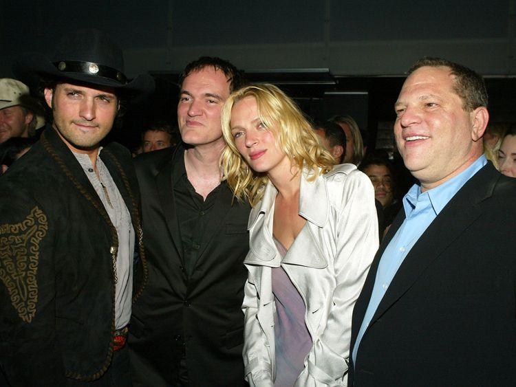 Uma Thurman with Quentin Tarantino (l) and Harvey Weinstein af the Kill Bill: Vol 2 premiere