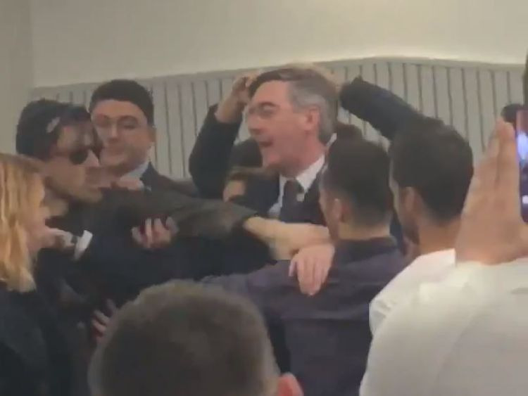 Rees-Mogg in fracas as protesters disrupt event