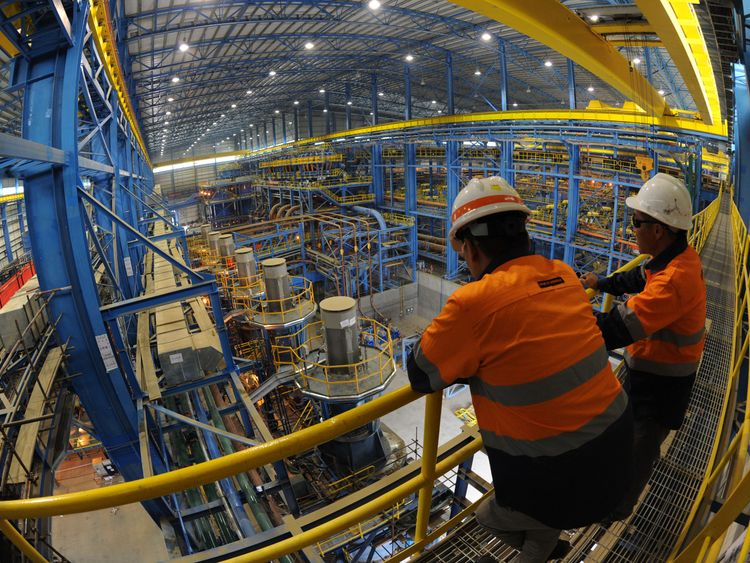 This photo taken on June 23, 2012 shows a Mongolian mine workers in the ore processing facility at the Rio Tinto operated Oyu Tolgoi gold and copper mine in the Gobi desert, southern Mongolia