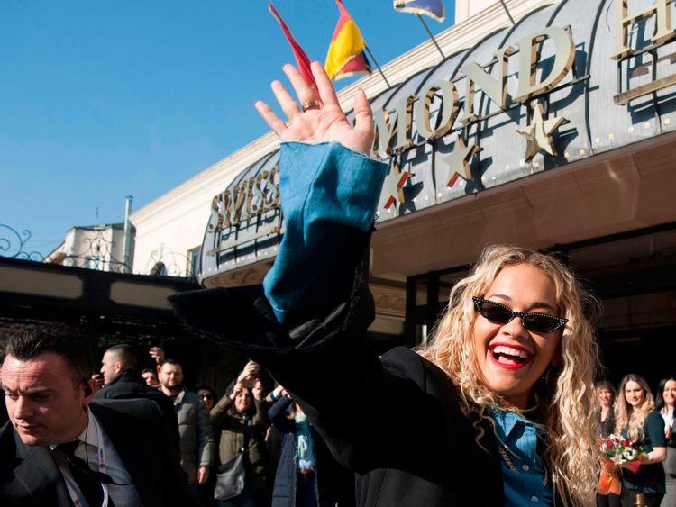 Rita Ora touched down in Kosovo on Saturday