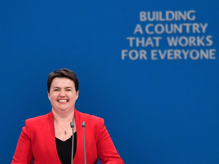 Scottish Conservatives leader, Ruth Davidson prepares to deliver a speech on the first day of the Conservative Party annual conference at the Manchester Central Convention Centre in Manchester on October 1, 2017.