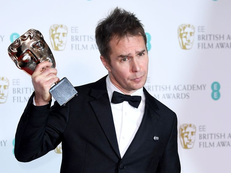 Best supporting actor winner Sam Rockwell praised his female co-stars