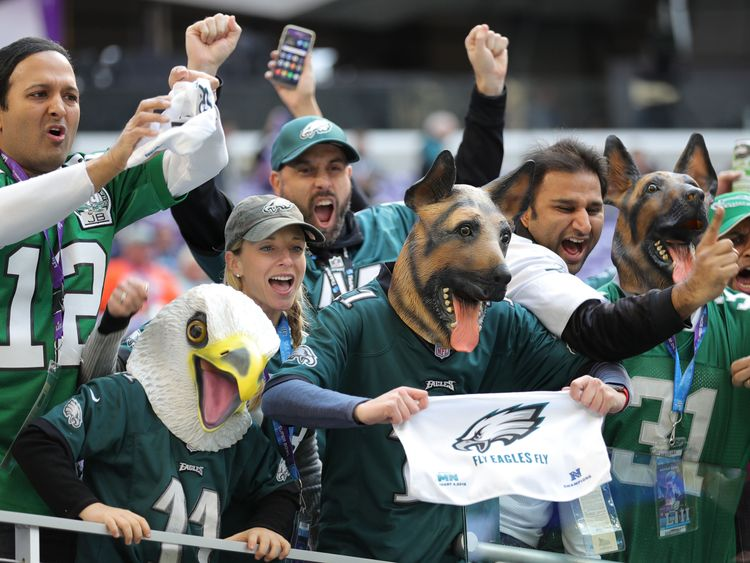 Philadelphia Eagles fans cheer from the stands